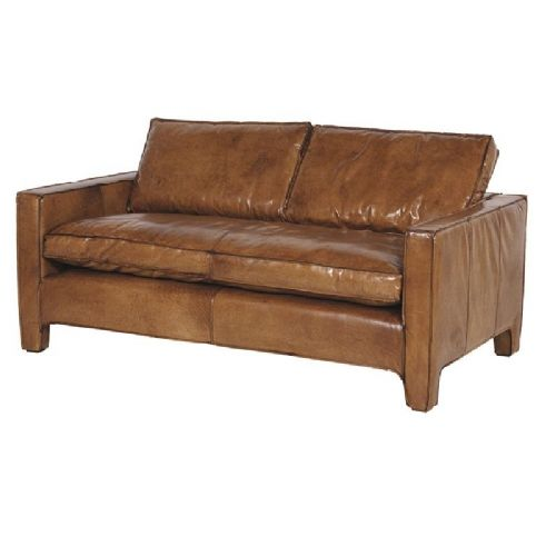 Italian Distressed Leather 2 Seater Sofa